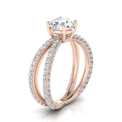 Diamond Engagement Ring With Crossover Pave Shank In 14k Rose Gold (1- 1/4 Ct.wt.)