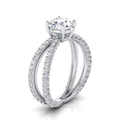 Diamond Engagement Ring With Crossover Pave Shank In 14k White Gold  (1- 1/4 Ct.wt.)