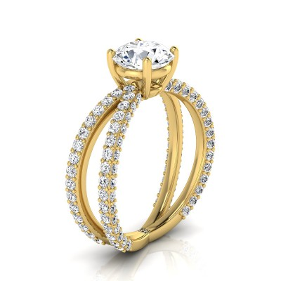 Diamond Engagement Ring With Crossover Pave Shank In 14k Yellow Gold (1- 1/4 Ct.wt.)