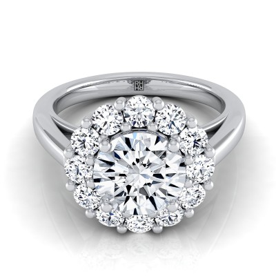 Diamond Prong Set Halo Engagement Ring In 14k White Gold (4/5 Ct.tw.)