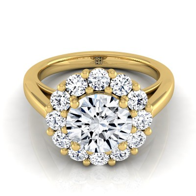 Diamond Prong Set Halo Engagement Ring In 14k Yellow Gold (4/5 Ct.tw.)