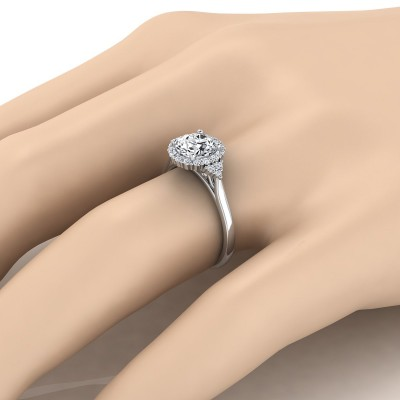 Diamond Halo Engagement Ring With Scroll Gallery In 14k White Gold (1/4 Ct.tw.)