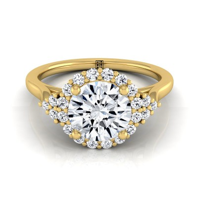 Diamond Halo Engagement Ring With Scroll Gallery In 14k Yellow Gold (1/4 Ct.tw.)