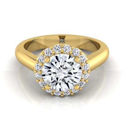 Classic Diamond Halo Engagement Ring In 14k Yellow Gold (1/5 Ct.tw.)