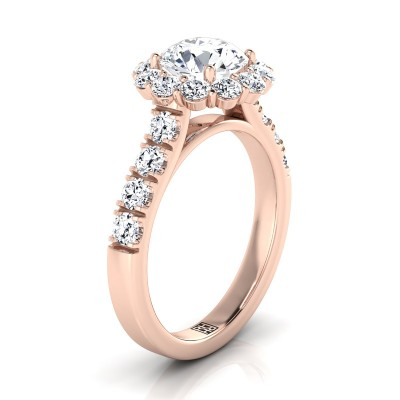 Diamond Halo Engagement Ring With Pave Shank In 14k Rose Gold (1-1/16 Ct.tw.)