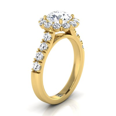 Diamond Halo Engagement Ring With Pave Shank In 14k Yellow Gold (1-1/16 Ct.tw.)