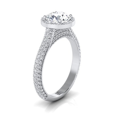 Diamond Pave Engagement Ring With Triple Row Shank In 14k White Gold (4/5 Ct.tw.)