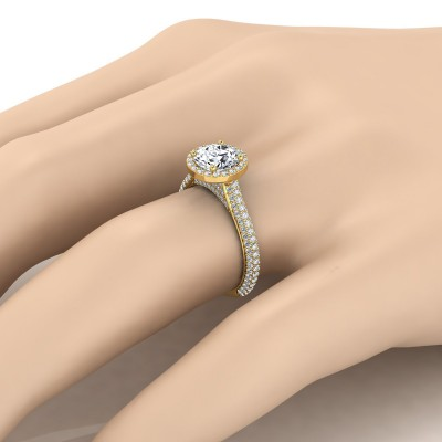 Diamond Pave Engagement Ring With Triple Row Shank In 14k Yellow  Gold (4/5 Ct.tw.)