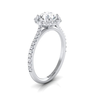 Diamond Scalloped Halo Engagement Ring With A Graduated Shank In 14k White Gold (1/4 Ct.tw.)