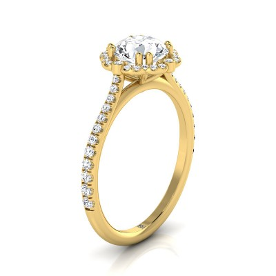 Diamond Scalloped Halo Engagement Ring With A Graduated Shank In 14k Yellow  Gold (1/4 Ct.tw.)