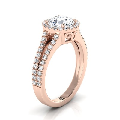 Diamond Halo Engagement Ring With Split Pave Shank In 14k Rose Gold (3/8 Ct.tw.)
