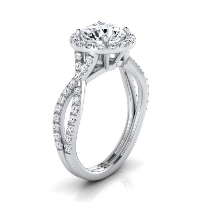 Diamond Halo Engagement Ring With Infinity  Shank In 14k White Gold (1/2 Ct.tw.)