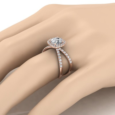Diamond Halo Engagement Ring With Crossover Pave Shank In 14k Rose Gold  (1/2 Ct.tw.)