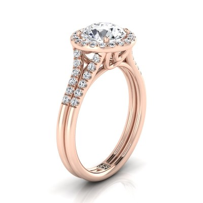 Diamond Halo Engagement Ring With Double Row Shank In 14k Rose Gold (3/8 Ct.tw.)