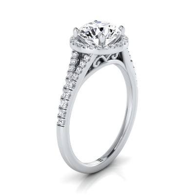 Diamond Halo Engagement Ring With Scroll Gallery In 14k White Gold (1/4 Ct.tw)