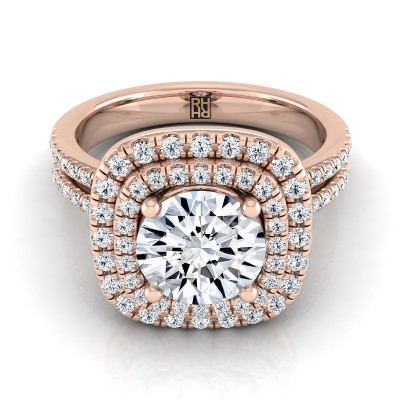 Diamond Double Entourage Engagement Ring With 2 Row Shank In 14k Rose Gold (3/8 Ct.tw.)