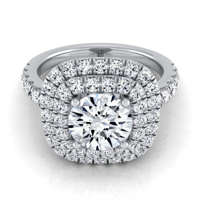 Diamond Double Entourage Engagement Ring With Pave Shank In 14k White Gold (9/10 Ct.tw.)
