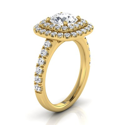 Diamond Double Entourage Engagement Ring With Pave Shank In 14k Yellow Gold (9/10 Ct.tw.)