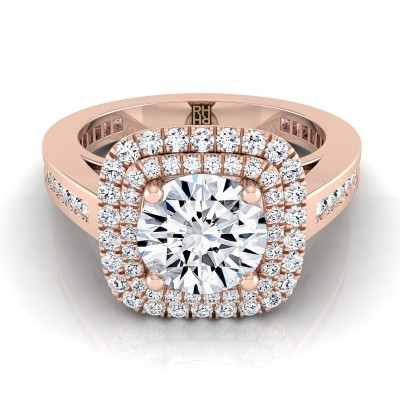 Diamond Double Halo Engagement Ring With Channel Set  Shank In 14k Rose Gold (2/3 Ct.tw.)