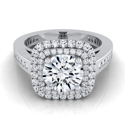 Diamond Double Halo Engagement Ring With Channel Set  Shank In 14k White Gold (2/3 Ct.tw.)