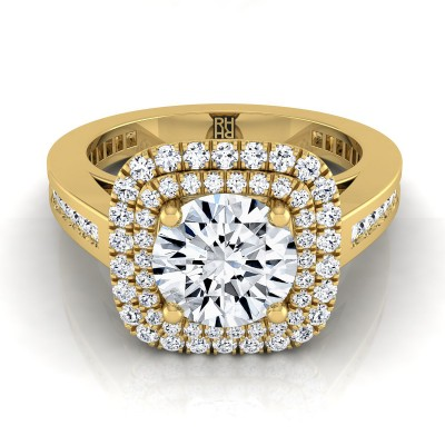 Diamond Double Halo Engagement Ring With Channel Set  Shank In 14k Yellow Gold (2/3 Ct.tw.)