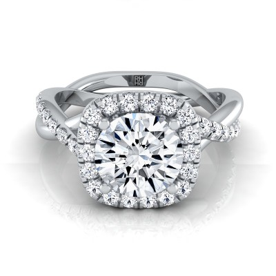 Diamond Halo Engagement Ring With Twist Shank In 14k White Gold (3/8 Ct.tw.)