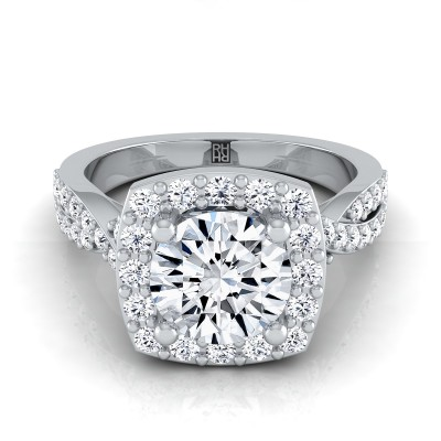 Diamond Square Halo Engagement Ring With Twisted Pave Shank In 14k White Gold (3/8 Ct.tw.)