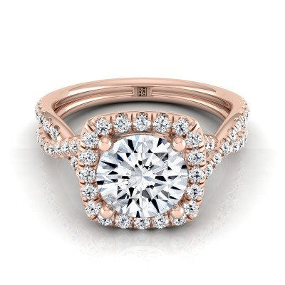 Diamond Square Halo Engagement Ring With Twisted Pave Shank In 14k Rose Gold (3/8 Ct.tw.)