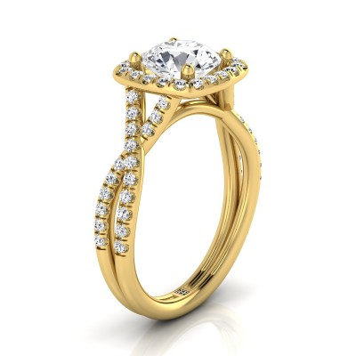Diamond Square Halo Engagement Ring With Twisted Pave Shank In 14k Yellow Gold (3/8 Ct.tw.)