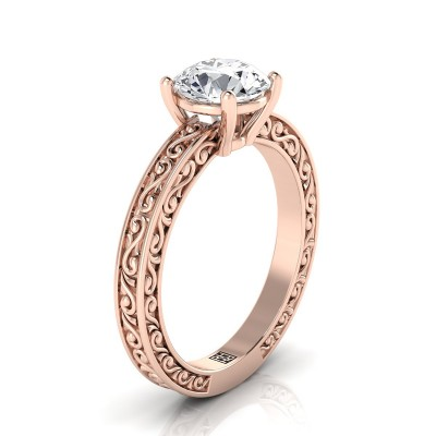 Diamond Solitaire Engagement Ring With Scroll Detail Shank In 14k Rose Gold
