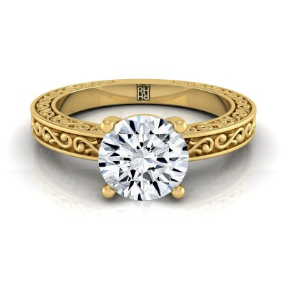 Diamond Solitaire Engagement Ring With Scroll Detail Shank In 14k Yellow Gold