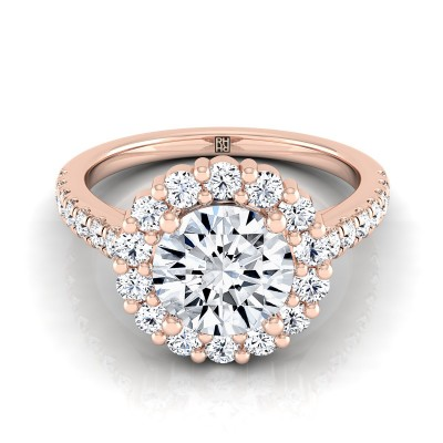 Diamond Halo Engagement Ring With Pave Shank In 14k Rose  Gold (5/8 Ct.tw.)