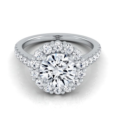 Diamond Halo Engagement Ring With Pave Shank In 14k White Gold (5/8 Ct.tw.)