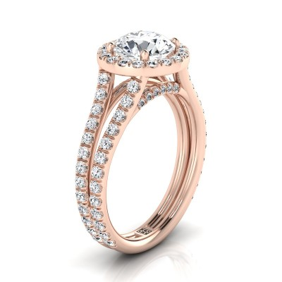 Diamond Halo Engagement Ring With A Split Shank In 14k Rose Gold (7/8 Ct.tw.)