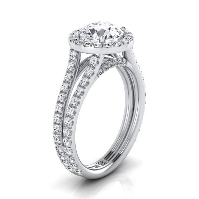 Diamond Halo Engagement Ring With A Split Shank In 14k White Gold (7/8 Ct.tw.)