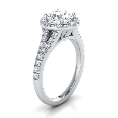 Diamond Halo Engagement Ring With Semi-split Shank In 14k White Gold (1/2 Ct.tw.)