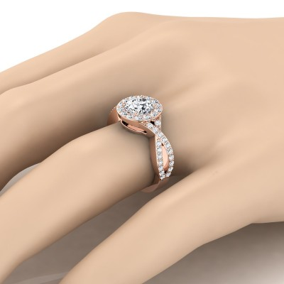 Diamond Halo Engagement Ring With Infinity  Shank In 14k Rose Gold (3/4 Ct.tw.)