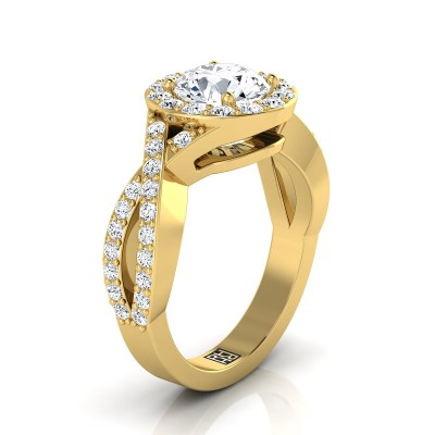 Diamond Halo Engagement Ring With Infinity  Shank In 14k Yellow Gold (3/4 Ct.tw.)