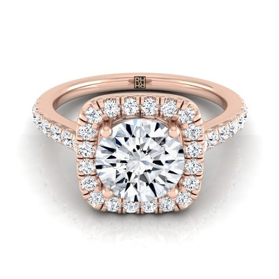Diamond Square Halo Engagement Ring With Pave Shank In 14k Rose Gold (1/2 Ct.tw.)