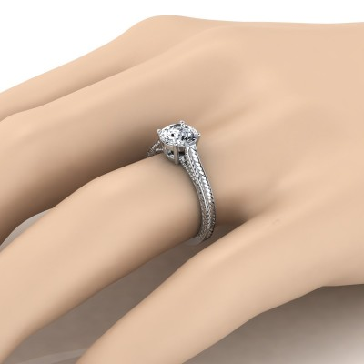 Antique Inspired Engraved Diamond Engagement Ring With Millgrain Finish In 14k White Gold