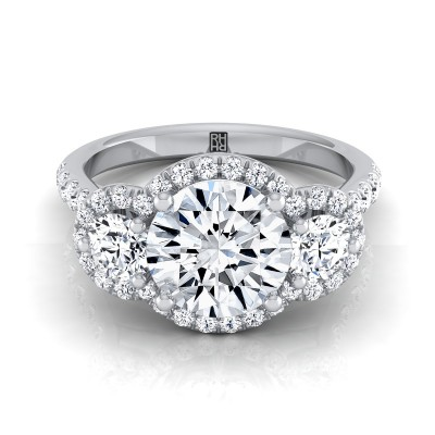 3 Stone Engagement Ring With Diamond Pave Shank In 14k White Gold (3/4 Ct.tw.)
