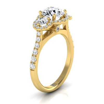 3 Stone Engagement Ring With Diamond Pave Shank In 14k Yellow Gold (3/4 Ct.tw.)