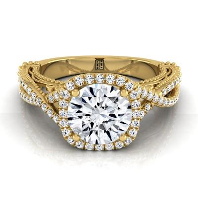 Diamond Halo Infinity Shank Ring In 14k Yellow Gold (1/3 Ct.tw.)