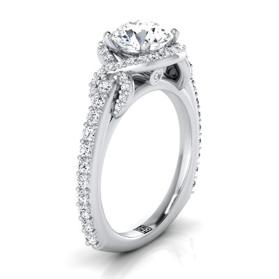 Diamond Engagement Ring With Love Knot Shank In 14k White Gold ( 5/8 Ct.tw.)