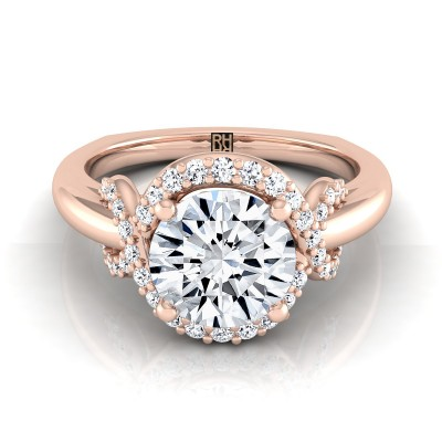 Diamond Halo Engagement Ring With Love Knot Shank In 14k Rose Gold ( 1/5 Ct.tw.)