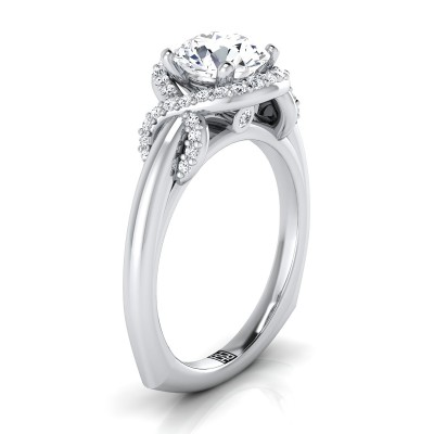 Diamond Halo Engagement Ring With Love Knot Shank In 14k White Gold ( 1/5 Ct.tw.)