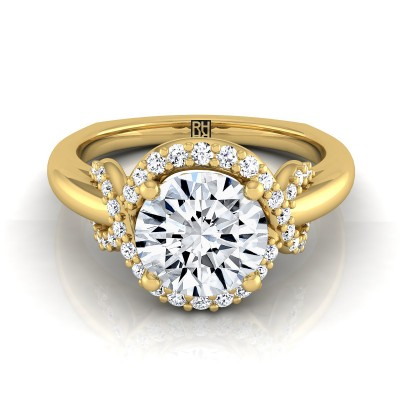 Diamond Halo Engagement Ring With Love Knot Shank In 14k Yellow Gold ( 1/5 Ct.tw.)