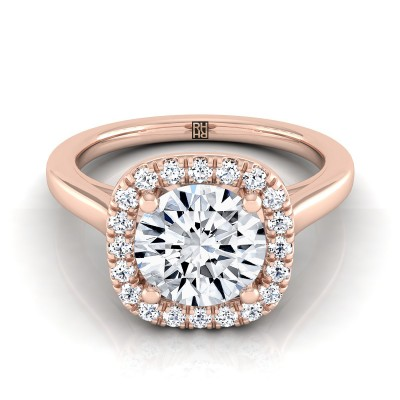 Diamond Halo Engagement Ring In 14k Rose Gold (1/6 Ct.tw.)