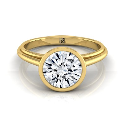 Diamond Bezel Solitaire Engagement Ring In 14k Yellow Gold