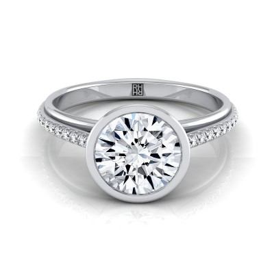Diamond Bezel Solitaire Engagement Ring With Pave Shank In 14k White Gold (1/10 Ct.tw.)